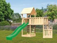 Akubi Spielturm Lotti + Schiffsanbau unten + Anbauplattform XL + Kletterwand + Rutsche grün