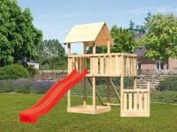 Akubi Spielturm Lotti + Schiffsanbau unten + Anbauplattform + Netzrampe + Rutsche in rot