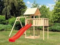 Akubi Spielturm Lotti natur- Anbauplattform- Einzelschaukel- Rutsche rot