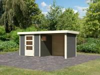 Karibu Woodfeeling Gartenhaus Oburg 2 terragrau mit Anbaudach 2,4 Meter inkl. Rück- und Seitenwand