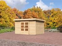 Karibu Aktions Gartenhaus Emden 7 natur mit Fußboden und Dacheindeckung