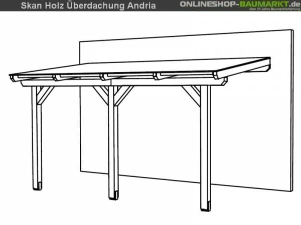 Skan Holz Terrassenüberdachung Andria 434 x 250 cm Leimholz