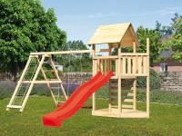 Akubi Spielturm Lotti Satteldach + Schiffsanbau oben + Doppelschaukel mit Klettergerüst + Kletterwand + Rutsche in rot