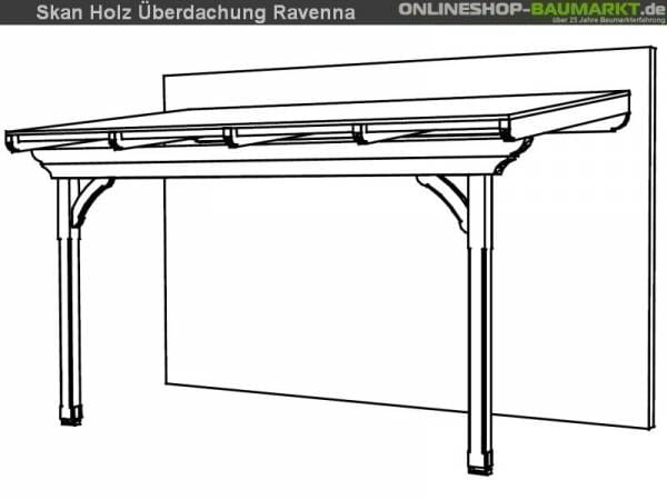 Skan Holz Terrassenüberdachung Ravenna 434 x 250 cm Douglasie