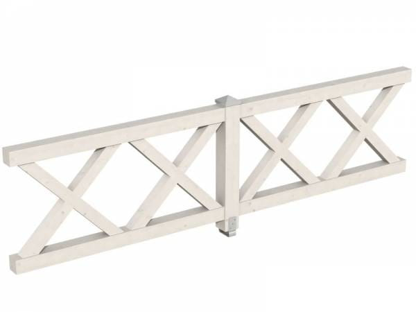 Skan Holz Brüstung für Pavillons 335 cm Andreaskreuz in weiß
