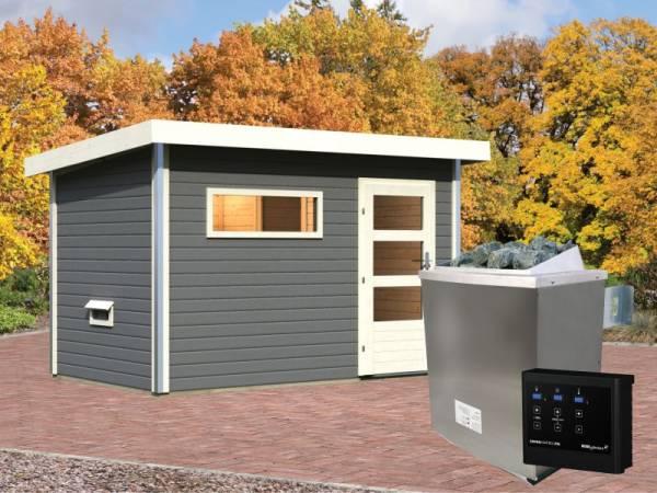 Karibu Aktionssaunahaus Erik 1 38 mm mit 9 kW Ofen ext. Strg. terragrau