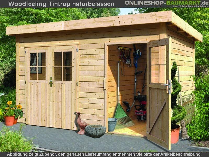 karibu gartenhaus tintrup 2 raum natur 28 mm naturbelassenes flachdach gartenhaus mit einfach. Black Bedroom Furniture Sets. Home Design Ideas