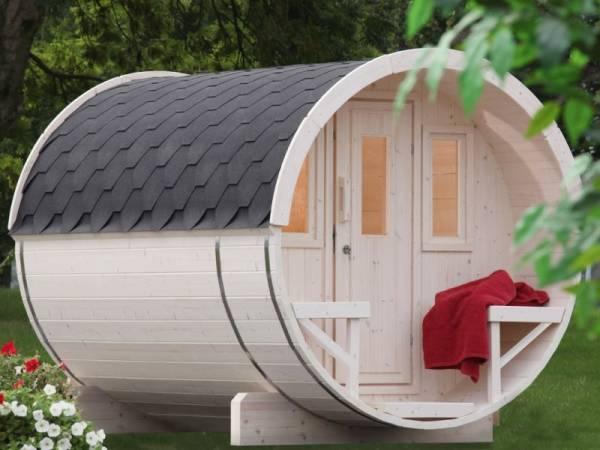 Wolff Finnhaus Saunafass 280 montiert