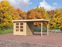 Karibu Aktions-Gartenhaus Jever 2 mit Anbaudach 2,40 Meter und Fußboden
