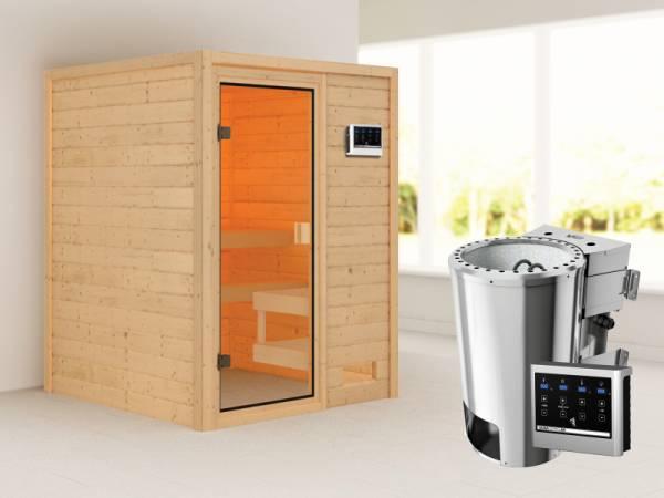 Karibu Woodfeeling Sauna Sandra mit 3,6 kW Bioofen ext. Strg