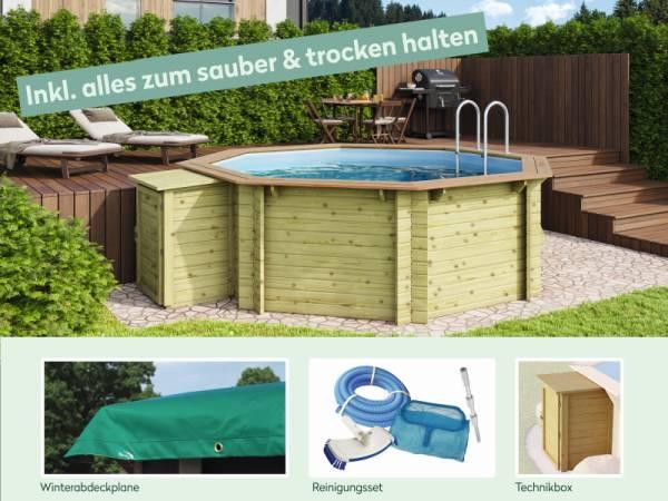 Wolff Finnhaus Pool Modell A inkl. Abdeckplane, Technikbox und Reinigungsset