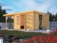 Karibu Woodfeeling Gartenhaus Retola 3 mit Anbauschrank und Anbaudachdach 2,80 Meter
