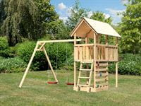 Akubi Spielturm Danny Satteldach + Doppelschaukel + Kletterwand
