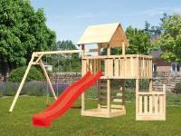 Akubi Spielturm Lotti + Schiffsanbau unten + Anbauplattform + Doppelschaukel + Kletterwand + Rutsche rot