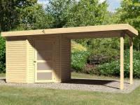 Karibu Woodfeeling Gartenhaus Schwandorf 3 natur mit Anbaudach 2,75 Meter