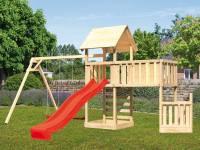 Akubi Spielturm Lotti + Schiffsanbau unten + Anbauplattform XL + Kletterwand + Doppelschaukel + Rutsche rot