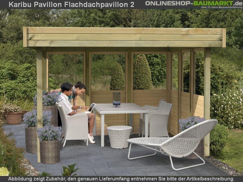 karibu 4 eck pavillon eco flachdachpavillon 2 kompakter. Black Bedroom Furniture Sets. Home Design Ideas