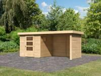 Karibu Woodfeeling Gartenhaus Oburg 2 natur mit Anbaudach 2,8 Meter inkl. Rück-und Seitenwand