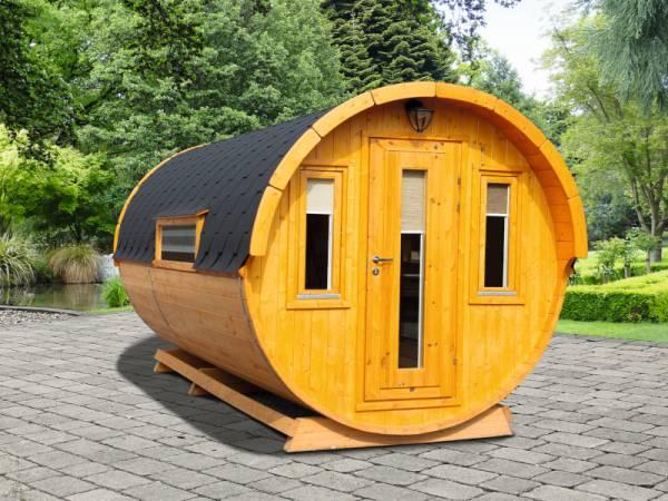 Wolff Finnhaus Campingfass Sylt 446-2, 2-Raum montiert mit schwarzen Dachschindeln.