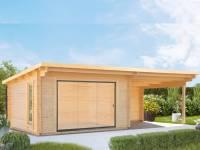 Wolff Gartenhaus Trondheim 70-D XL mit Schiebetür und Seitendach 300 cm Rechts