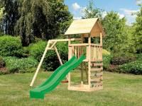 Akubi Spielturm Lotti mit Einzelschaukel, Kletterwand und Rutsche grün