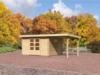 Karibu Aktions Gartenhaus Rastede 4 natur mit Fußboden und Anbaudach 2,2 m