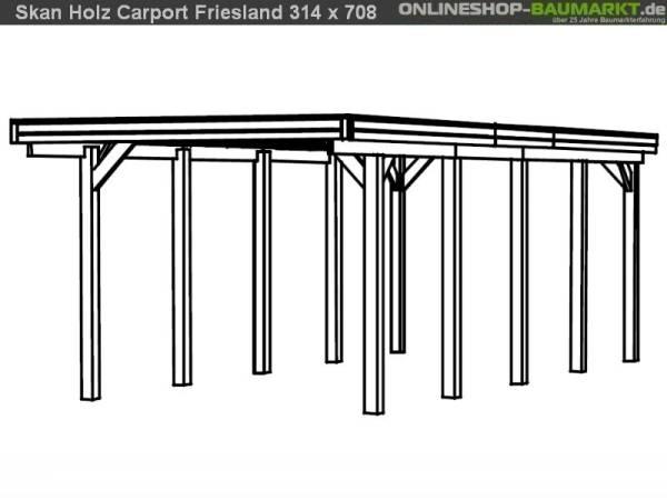 Skan Holz Carport Friesland 314 x 708 cm