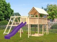 Akubi Spielturm Danny Satteldach + Rutsche violett + Doppelschaukelanbau Klettergerüst + Anbauplattform XL