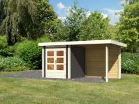 Karibu Woodfeeling Gartenhaus Kandern 1 terragrau mit Anbaudach 2,35 m inkl. Rückwand