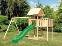 Akubi Spielturm Lotti natur- Anbauplattform- Doppelschaukel- Rutsche grün