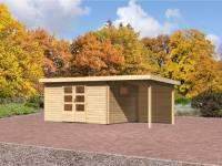 Karibu Aktions Gartenhaus Rastede 5 inkl. Dacheindeckung, Fußboden und Anbaudach 2,2 m inkl. Rückwand