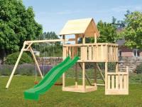 Akubi Spielturm Lotti + Schiffsanbau unten + Anbauplattform + Doppelschaukel + Netzrampe + Rutsche grün