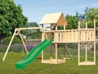 Akubi Spielturm Lotti Satteldach + Schiffsanbau oben + Doppelschaukel + Anbauplattform XL + Netzrampe + Rutsche in grün