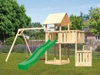 Akubi Spielturm Lotti + Schiffsanbau unten + Anbauplattform + Doppelschaukel + Rutsche grün