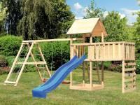 Akubi Spielturm Lotti Satteldach + Rutsche blau + Doppelschaukel Klettergerüst + Anbauplattform XL + Kletterwand