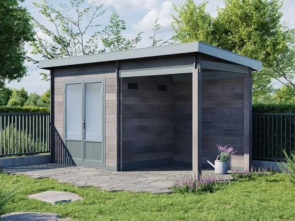 Wolff Finnhaus WPC-Haus Trend B grau mit Lounge