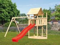 Akubi Spielturm Lotti Satteldach + Schiffsanbau oben + Doppelschaukel + Netzrampe + Rutsche in rot