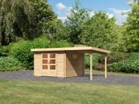Karibu Gartenhaus Trittau 3 natur mit Anbaudach 2,2 m