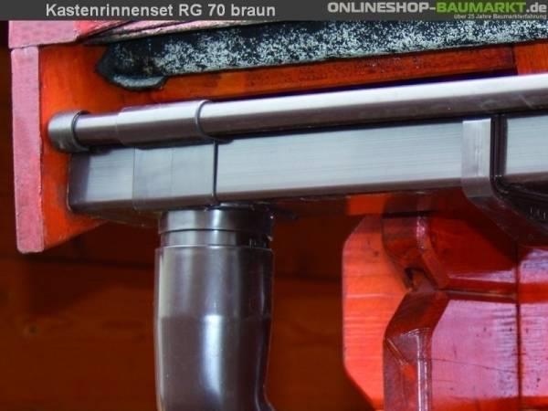 Dachrinnen Set RG 70 braun 450 cm zweiseitig
