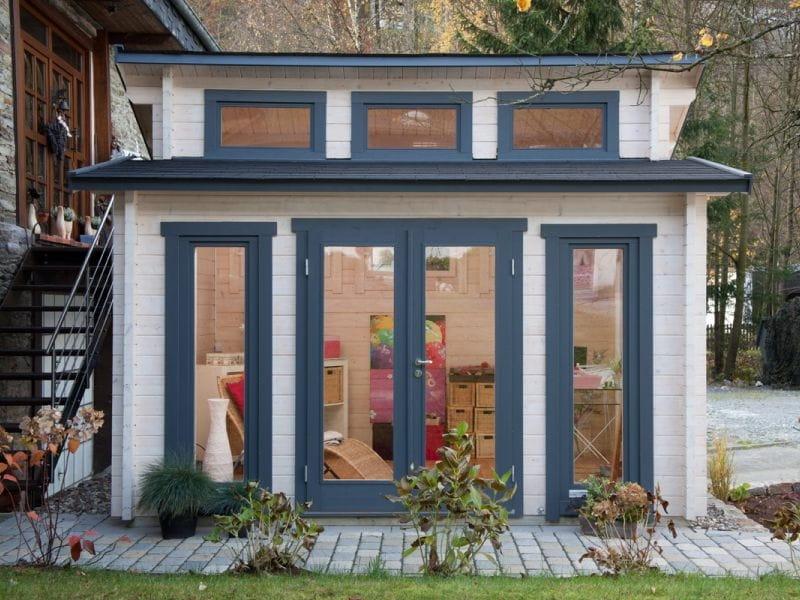 stufendach gartenhaus mit seilichem eingang und. Black Bedroom Furniture Sets. Home Design Ideas