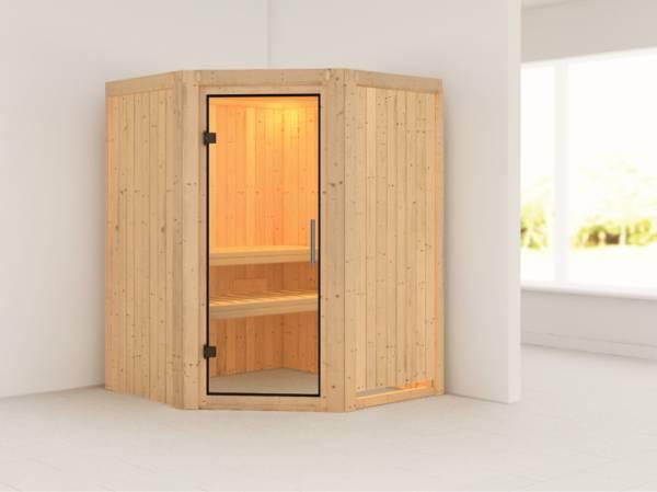 Nanja - Karibu Sauna Plug & Play ohne Ofen - ohne Dachkranz - Klarglas Ganzglastür