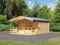 Karibu Gartenhaus Bayreuth 5 mit Vordach und Terrasse