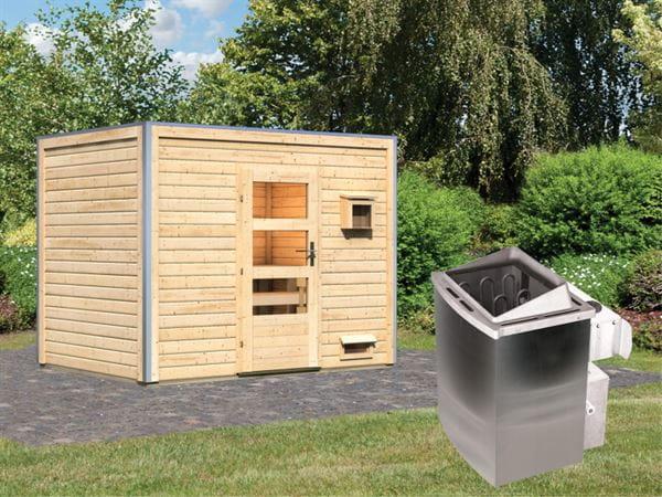 Karibu Saunahaus Theo 40 mm- Moderne Tür- 9 kW Ofen integr. Strg- natur