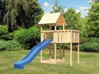 Akubi Spielturm Lotti natur mit Anbauplattform und Rutsche blau
