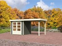 Karibu Gartenhaus Jever 2 terragrau mit Anbaudach 2,40 Meter, Dacheindeckung und Fußboden