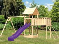 Akubi Spielturm Lotti Satteldach + Rutsche violett + Doppelschaukel + Anbauplattform XL + Netzrampe