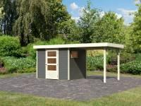 Karibu Woodfeeling Gartenhaus Oburg 3 terragrau mit Anbaudach 2,4 Meter
