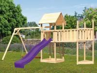 Akubi Spielturm Lotti Satteldach + Schiffsanbau oben + Doppelschaukel + Anbauplattform XL + Rutsche in violett