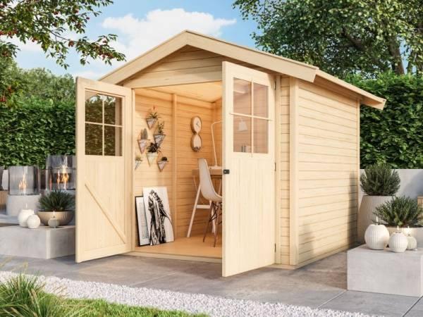 Karibu Gartenhaus Harburg 3 natur mit klassischer Tür