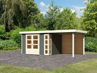 Karibu Woodfeeling Gartenhaus Kerko 5 terragrau mit Anbaudach 2,40 m inkl. Rückwand